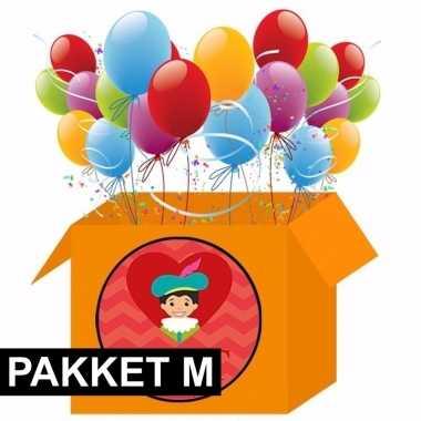 Pakjesavond decoratie pakket rood/oranje middel