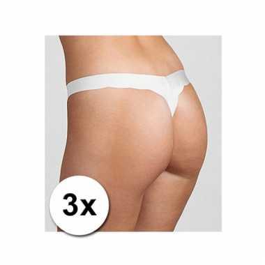 Pakket witte dames strings van sloggi 3x