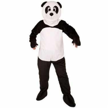 Panda beer kostuum met mega pluche masker
