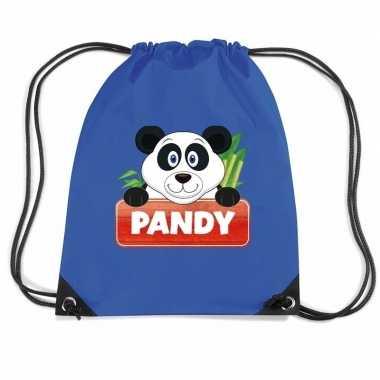 Pandy de panda rugtas / gymtas blauw voor kinderen