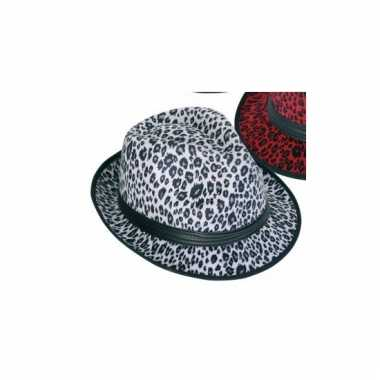 Panter print hoed wit trilby model