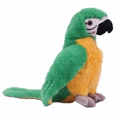 Papegaaien knuffeltje groen/geel 24 cm