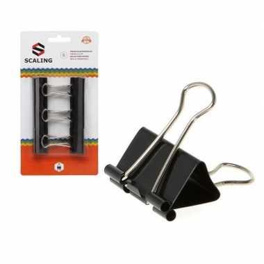 Papierbinders zwart 6 stuks 32 mm