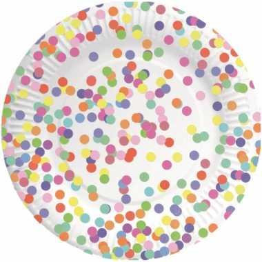Papieren bordjes confetti 8 stuks