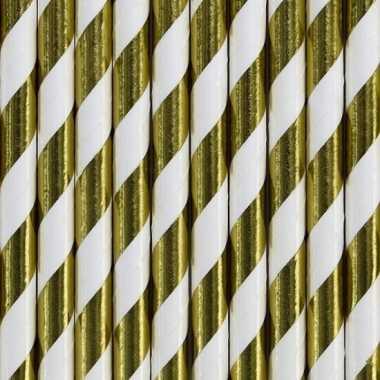 Papieren drinkrietjes goud/wit gestreept 30 stuks