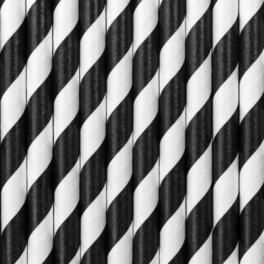Papieren drinkrietjes zwart/wit gestreept 100x