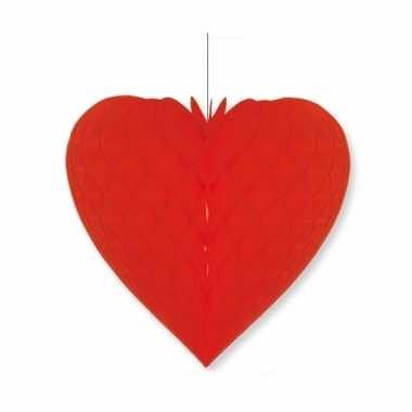 Papieren honeycomb hart rood 40 x 44 cm