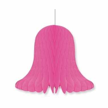Papieren klok fuchsia roze 20 cm