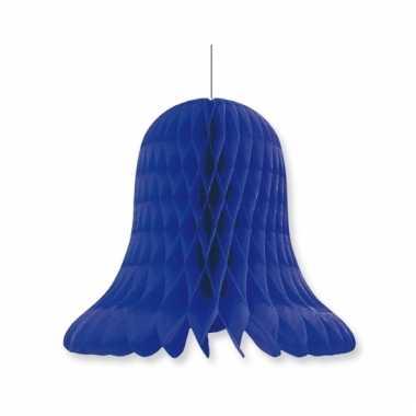 Papieren klok navy blauw 20 cm