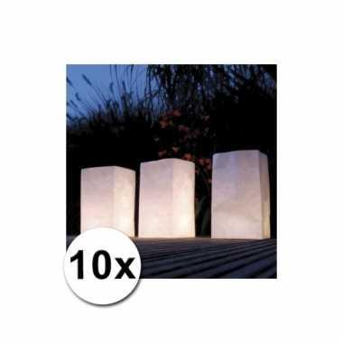 Papieren lichtzakjes 10 stuks