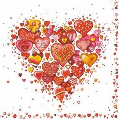 Papieren servetten liefde/valentijn 60 stuks
