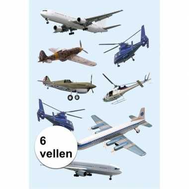Papieren stickers helikopters 6 stuks