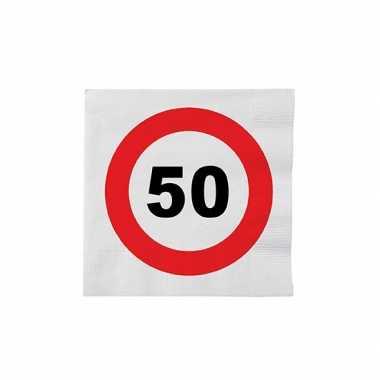 Papieren stopbord servetten 50 jaar
