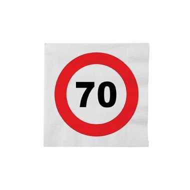 Papieren stopbord servetten 70 jaar