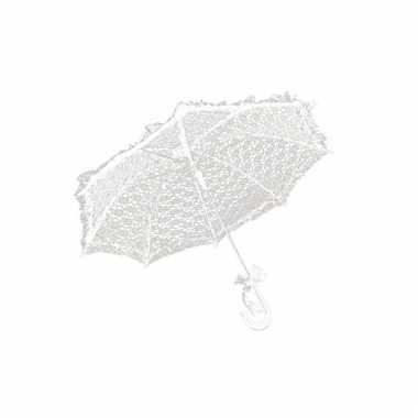 Paraplu van wit kant 70 cm