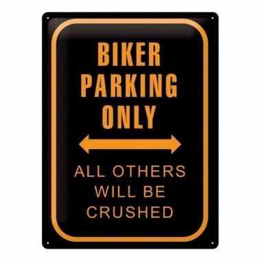 Parkeren alleen voor motorrijders metalen muurplaat