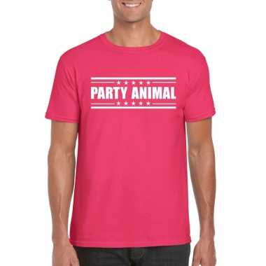 Party animal t-shirt fuchsia roze heren