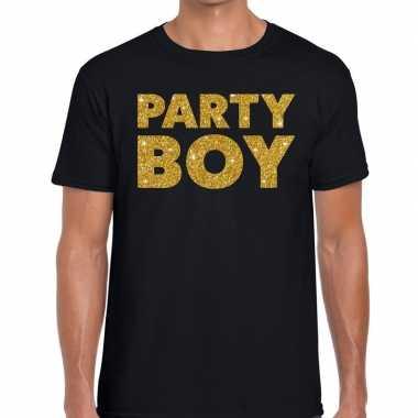 Party boy glitter tekst t-shirt zwart heren