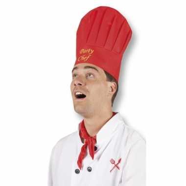 Party chef koksmutsen rood
