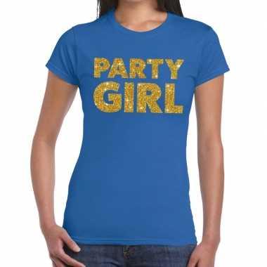 Party girl glitter tekst t-shirt blauw dames