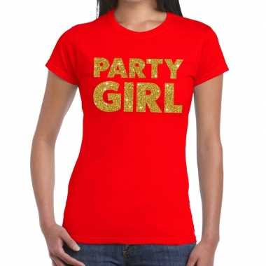 Party girl glitter tekst t-shirt rood dames