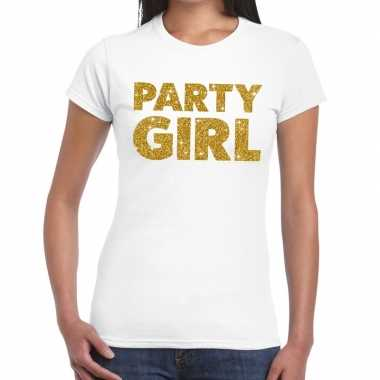 Party girl glitter tekst t-shirt wit dames