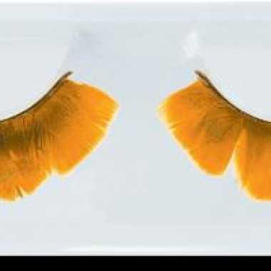 Party wimpers met oranje veren