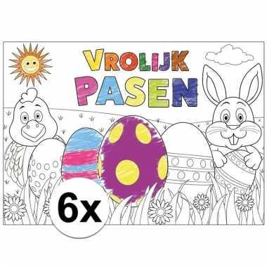 Pasen kleurplaat/ placemats 6 stuks voor paasontbijt/paaslunch