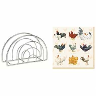 Pasen tafelversiering houder met kippen en hanen opdruk servetten