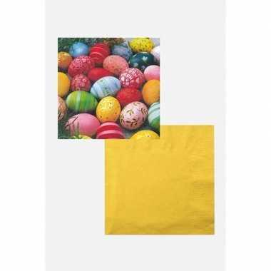 Pasen versiering voor op tafel wit/geel/gekleurd