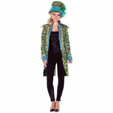 Pauwen thema print verkleed jas