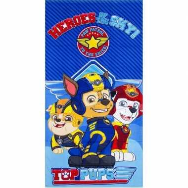 Paw patrol heroes badlaken/strandlaken blauw 70 x 140 cm