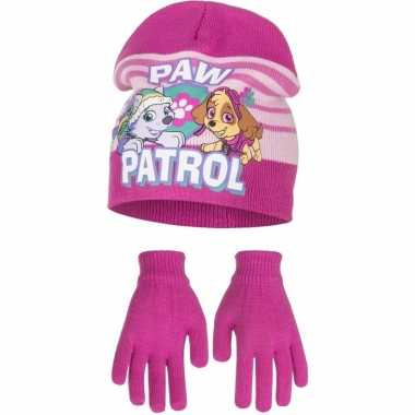Paw patrol muts en handschoenen fuchsia voor meisjes