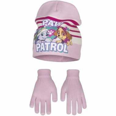 Paw patrol muts en handschoenen lichtroze voor meisjes