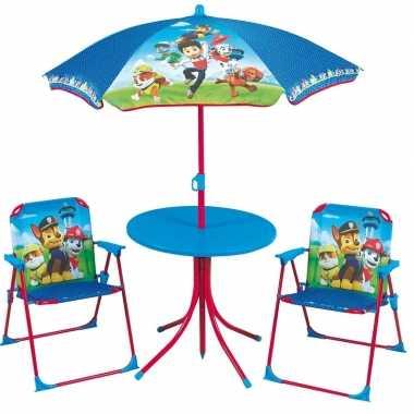 Paw patrol tuinstoelen met tafel en parasol