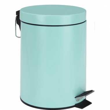 Pedaal vuilnisbak blauw rvs 5l
