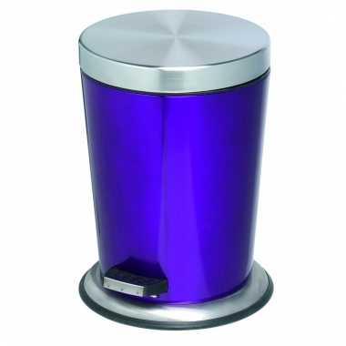 Pedaal vuilnisbak roestvrijstaal 5l glanzend paars