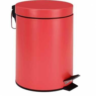 Pedaal vuilnisbak rood rvs 5l
