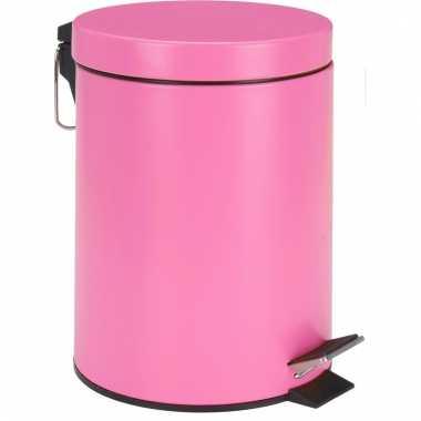 Pedaal vuilnisbak roze rvs 5l