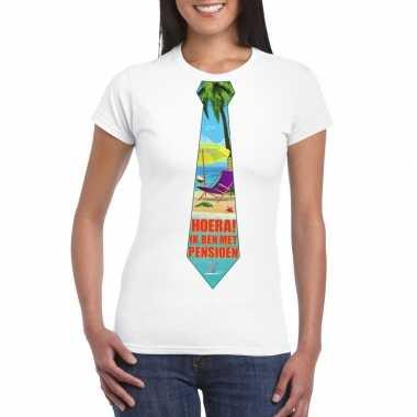 Pensioen t-shirt wit dames met stropdas