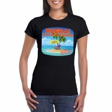 Pensioen t-shirt zwart dames