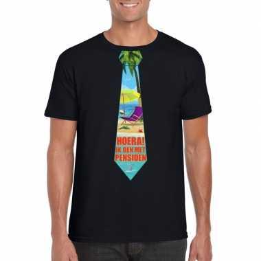 Pensioen t-shirt zwart heren met stropdas
