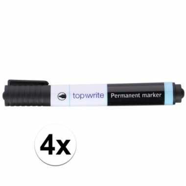 Permanente markers zwart 4 stuks
