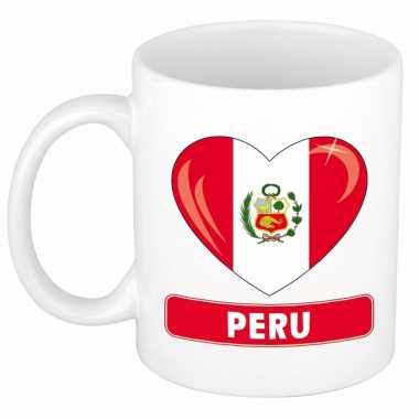Peruaanse vlag hart mok / beker 300 ml