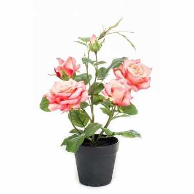 Perzik gele kunstplant roos in pot 40 cm