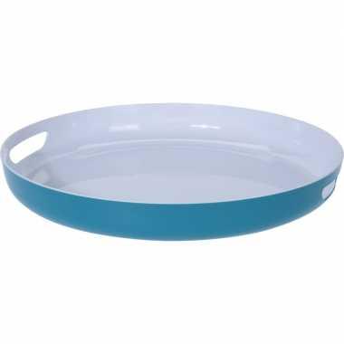 Petrol blauw/wit kunststof serveer dienblad 38 cm