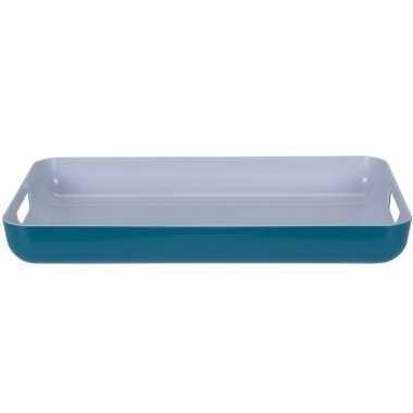 Petrol blauw/wit kunststof serveer dienblad 42 cm