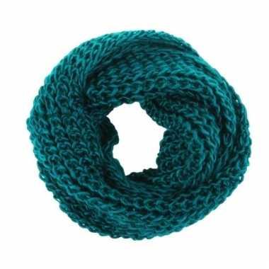Petrol blauwe gebreide ronde sjaal voor volwassenen