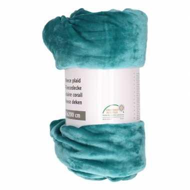 Petrol groen fleece plaid/dekentje 150 x 200 cm