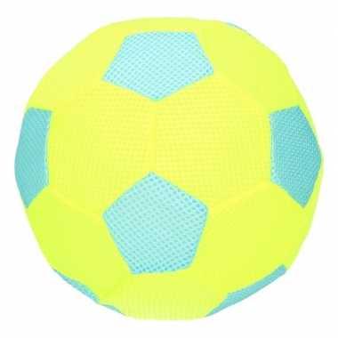 Peuterspeelgoed blauw/lime groene zachte voetbal 23 cm